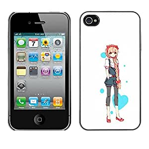 Colorful Printed Hard Protective Back Case Cover Shell Skin for Apple iPhone 4 / iPhone 4S / 4S ( Love Heart Princess Anime Japanese )