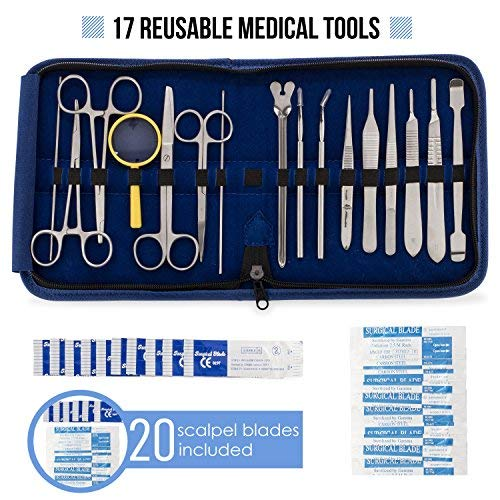 Advanced Dissection Kit - 37 Pieces Total. High Grade Stainless Steel Instruments Perfect for Anatomy, Biology, Botany, Veterinary and Medical Students - by Poly -