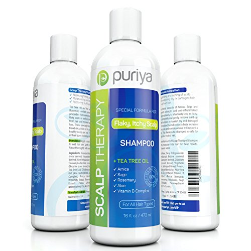Puriya Dandruff Shampoo 16oz with Potent Tea Tree, Vitamin and more. Combats itchy, Flaky, Dry Scalp. Ideal for Psoriasis, Seborrheic Dermatitis. Sulfate Free. Moisturizing and Gentle for Daily Use.