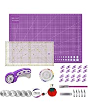"""Rdutuok 45mm Rotary Cutter Set Quilting Kit, 3 Replacement Blades, A3 Cutting Mat(18X12""""), Acrylic Ruler,Sewing Pins,Cushion,Craft Knife Set and Craft Clips - Ideal for Sewing,Crafting"""