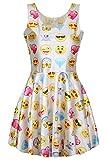 emojis clothes - Pink Wind Teenager Girls Fashion Print Knee Length Pleat Funny Dress Sundress