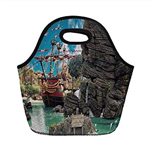 Borsa da pranzo portatile, pirata, grande nave antica sulla spiaggia tropicale dei Caraibi, isola dei pirati, grande… 8 spesavip
