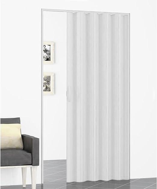 Puerta con fuelle, 82 x 220 cm, color blanco con asa restaurante habitación de la casa: Amazon.es: Hogar