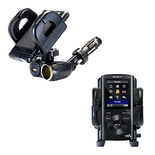 Unique Auto Cigarette Lighter and USB Charger Mounting System Includes Adjustable Holder for the Sony Walkman NWZ-E383 / NWZ-E384 / NWZ-E385