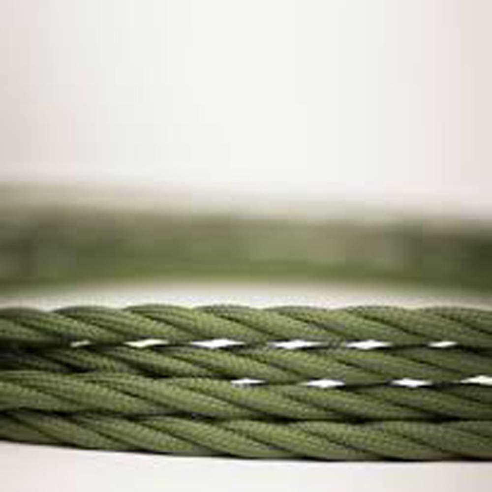 Vert militaire Lampe torsad/ée torsad/ée en soie tress/ée avec 3 c/œurs 10//5 m