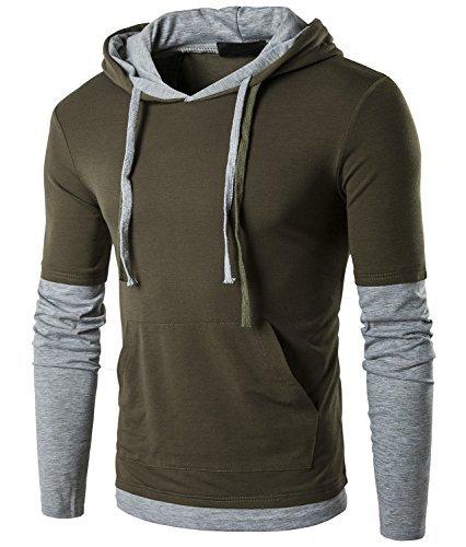 Guoji Men's Casual Slim Fit Long Sleeve T-Shirt with Hooded/Hoodies Tops (B26-Armygreen...