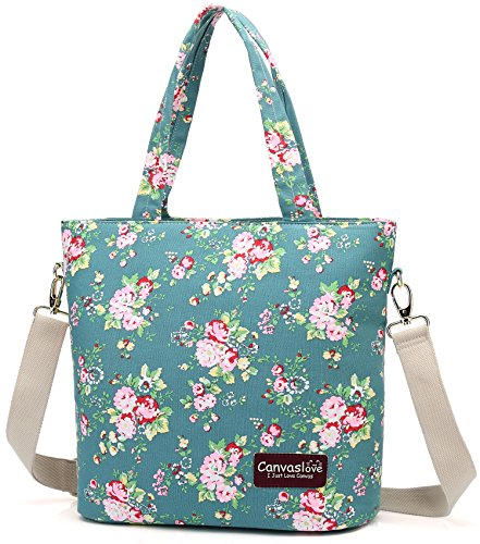 Canvaslove Green Flower Pattern Laptop Tote Bag 13 inch laptop Messenger Shoulder bag case for 11 inch 12 inch and 13.3 inch laptop - Flower Tote Bag