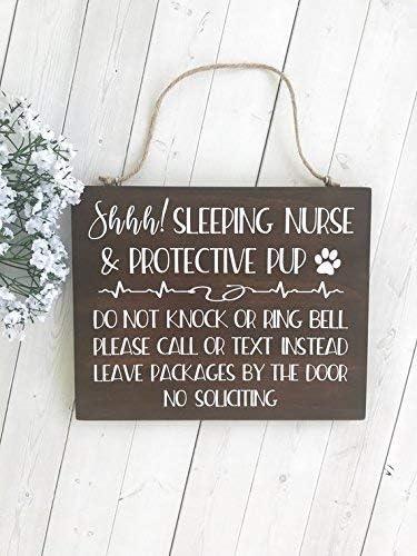 Sleeping Nurse Leave Packages Sign WEATHERPROOF Shift Worker Sign Do Not Disturb Sign Gift for Nurse