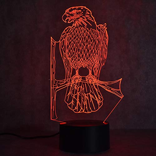 Zylxyd 3D Night Light Touch Gift USB Led Colorful Table Lamp Visual Lampara Bedside Baby Sleep Lamp Animal Eagle Light Fixture Decor