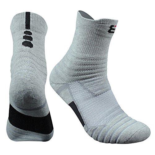 Muryobao Men's Cotton Sports Athletic Compression Socks Elite Basketball Cushioned Mid-crew Training Socks Grey