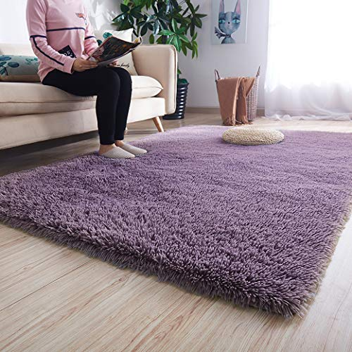 Noahas Super Soft Modern Shag Area Rugs Fluffy Living Room Carpet Comfy Bedroom Home Decorate Floor Kids Playing Mat 4 Feet by 5.3 Feet, Gray-Purple