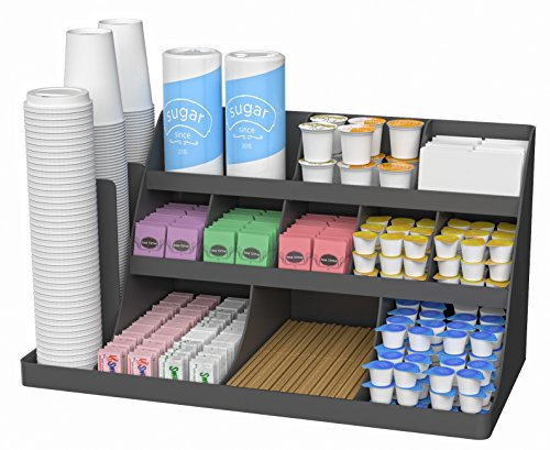 Mind Reader 14 Compartment 3 Tier Large Breakroom Coffee Condiment Organizer, Black