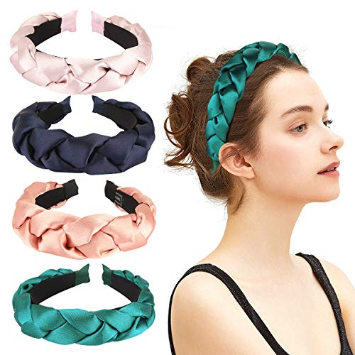 Makone Thick Satin Braided Headbands for Women Vintage Wide Hairband Elastic Hair Hoops Fashion Hair Accessories for Wedding Party