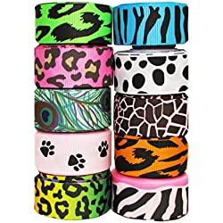 "Hip Girl Boutique 40yd (8x5yd) 7/8"" Animal Prints Grosgrain Ribbon--Zebra, Leopard, Cheetah and More..(Color May Vary)"