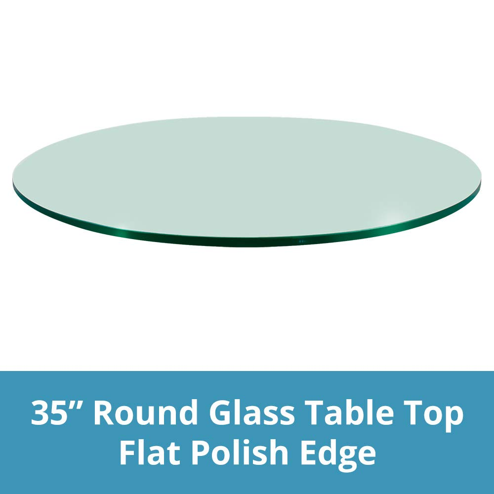 TroySys Glass Table Top, Flat Polish Edge, Tempered Glass, 35'' L Round