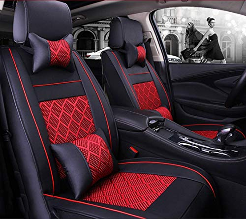 Phcom Ice silk car seat cushion 5 seats full set, non-slip suede backing universal adjustable bench suitable for 99% car type,Red,Red: Amazon.co.uk: Sports & Outdoors