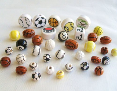 36 Piece Mix (Sports Mix of Ceramics Beads.36)