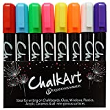 Chalk Markers for Chalkboard by ChalkArt (5 mm Reversible bullet & chisel Tip) - Erasable Dustless Water-Based Non-Toxic Liquid Wet Erase Pens- ONLY SUITABLE FOR NON POROUS SURFACES