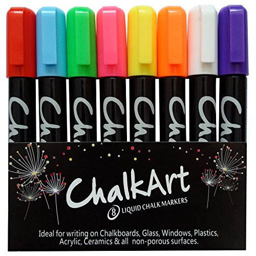 Glass Sign Marker (Chalk Markers for Chalkboard by ChalkArt (5 mm Reversible bullet & chisel Tip) - Erasable Dustless Water-Based Non-Toxic Liquid Wet Erase Pens- ONLY SUITABLE FOR NON POROUS SURFACES)