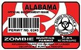 Alabama Zombie Hunting Permit Sticker Size: 4.95x2.95 Inch (12.5x7.5cm) Cut D...