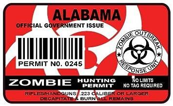 Bumper Sticker Alabama Zombie Hunting Permit