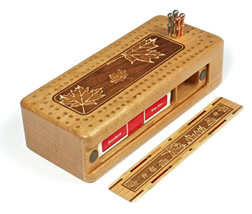 Maple Leaves Engraved Wooden Cribbage Board with Quality Metal Pegs and Deck of cards by Mitercraft