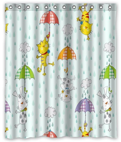 Raining Cats And Dogs Stylish Living Bathroom Shower Curtain 60quot