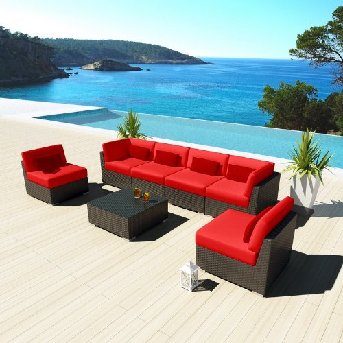 Cheap Uduka Outdoor Sectional Patio Furniture Espresso Brown Wicker Sofa Set Daly 7 Red All Weather Couch