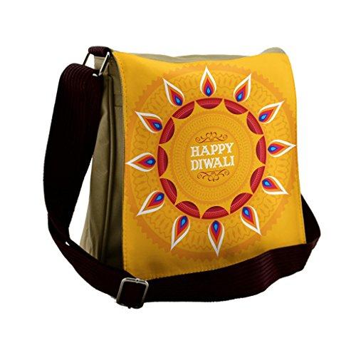 Lunarable Diwali Messenger Bag, Ethnic Cartoon Arrangement, Unisex Cross-body by Lunarable