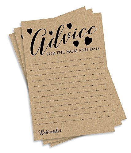 (Advice for Mom and Dad Kraft Rustic (50-cards) Baby Shower, Gender Neutral Cards for Baby Shower Game, New Mom & Dad Card or Mommy & Daddy To Be, For Girl)