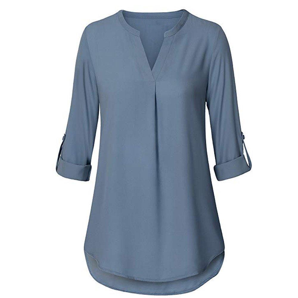 KEERADS T-Shirt Femmes du Quotidien Mousseline de Soie en Vrac Manche 3/4 Solide Bouton Col en v Menotté Moussline de Soie Chemise Blouse Tops