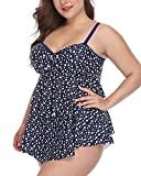Wavely Woman Two Piece Plus Size Polka Dot Bandeau Flyaway Tankini Top with High Waist Triangle Bottom XXL