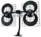Antennas Direct Clearstream 4 TV Antenna, 70+ Mile Range, UHF, Multi-Directional, Indoor, Attic, Outdoor, Mast W/Pivoting Base/Hardware/Adjustable Clamp/Sealing Pads, 4K Ready, Black - C4-CJM