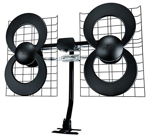 Antennas Direct ClearStream 4 TV Antenna, 70+ Mile Range, UHF/VHF, Multi-directional, Indoor, Attic, Outdoor, Mast w/Pivoting Base/Hardware/Adjustable Clamp/Sealing Pads, 4K Ready, Black - C4-CJM