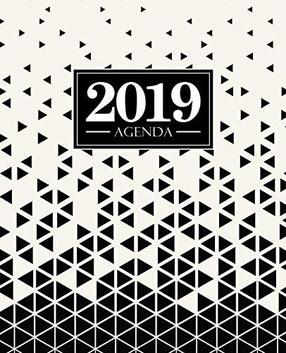 Agenda 2019: 19x23cm: Agenda 2019 Settimanale Italiano: Triangoli Astratti in Bianco E Nero 7276