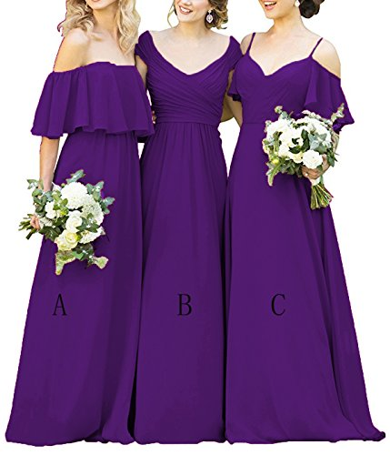 (Women's Ruffles Chiffon Floor Length Bridesmaid Dresses Elegant Off the Shoulder Wedding Evening Gowns Purple-c US18)