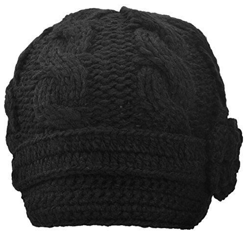 Simplicity Women's Hand Knitted Beanie Newsboy Hat with Visor, 1128_Black