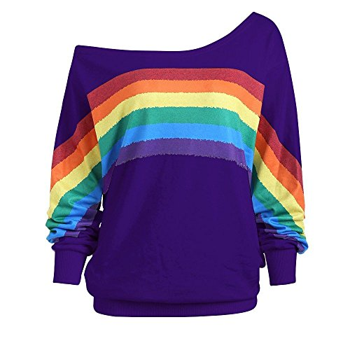 Ladies Rainbow Print Pullover Off Shoulder Shirts Women Casual Loose T-Shirts Long Sleeve Blouse Sweatshirt by SanCanSn(Purple,2XL)