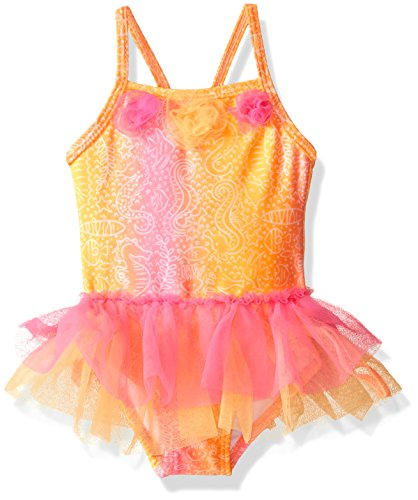 Candlesticks Baby Girls' Batik Print One Piece Swimsuit, Hot Pink/Orange, 9 Months ()