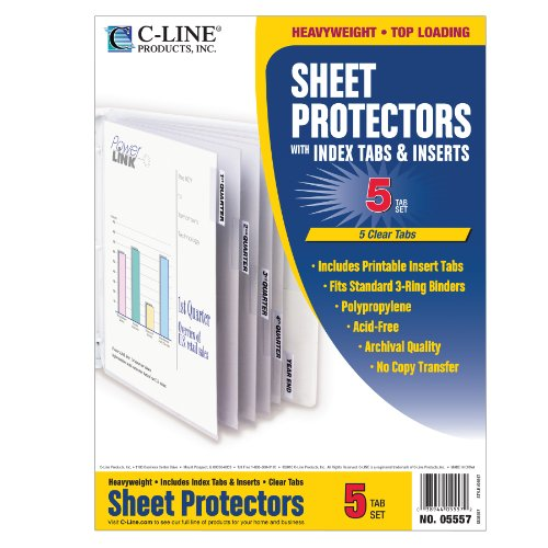 C-Line Polypropylene Sheet Protector with Index Tabs, Clear Tabs, 11 x 8.5 Inches, One 5-Tab Set (05557)