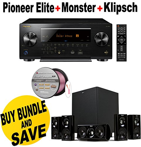 Pioneer-Elite-112-Channel-Class-D3-Network-AV-Receiver-Black-SC-LX901-Klipsch-HDT-600-Home-Theater-System-Monster-Platinum-XP-Clear-Jacket-MKIII-50-Compact-Speaker-Cable