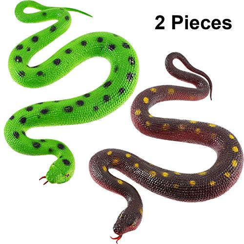 2 Pieces Rubber Snakes 27.5 Inches Realistic Fake Mamba Snake for Garden Props to Scare Birds, Pranks, Halloween Decoration (2 Pieces, 27.5 Inch)]()