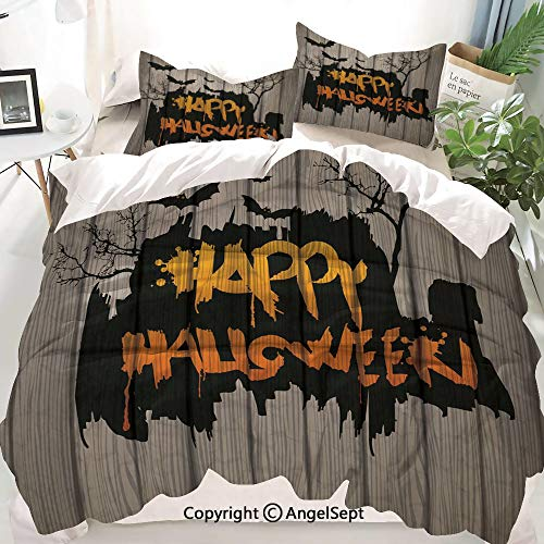 Homenon Halloween Decorations Decor Duvet Cover Set King Size,Happy Graffiti Style Lettering on Rustic Wooden Fence Scary Evil Artwork,Decorative 3 Piece Bedding Set with 2 Pillow Shams
