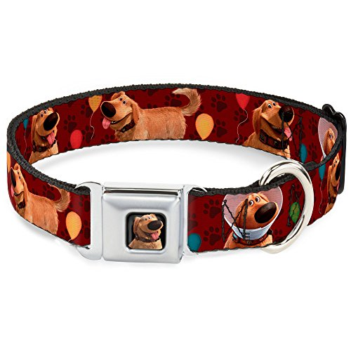 (Buckle-Down Seatbelt Buckle Dog Collar - Dug 4-Poses/Balloons/Paw Print Reds - 1