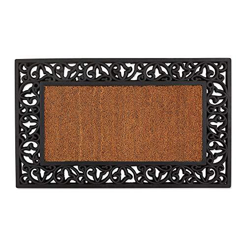 - DII 10312 Indoor Outdoor Coir Rubber Easy Clean Entry Way Welcome Doormat, Floor Mat, Rug for Patio, Front, Weather Exterior Doors, 18x30, Leaves