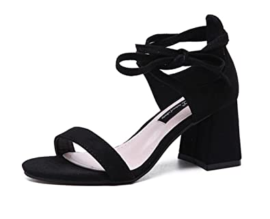 466a676bbf803 Amazon.com | LINYI Womens High Heels Suede Round Head Sandals Hollow ...