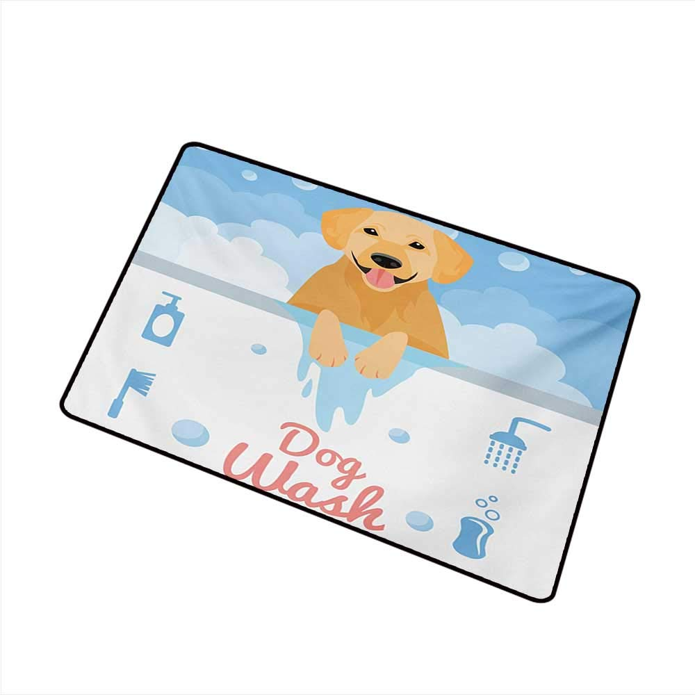 Axbkl Pet Door mat Golden Retriever Dog Washing in Bathtub Cartoon Foam and Soap Hygiene W35 xL59 Super Absorbent mud by Axbkl