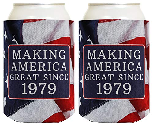 Gift Gag Great - Birthday Gifts for 40th Birthday Making America Great Since 1979 40th Birthday Gag Gifts for Birthday Party 2 Pack Can Coolie Drink Coolers Coolies USA Flag