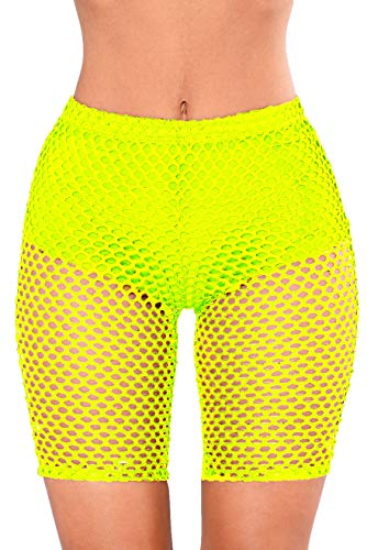 Nihsatin Women's Elastic Fishnet High Waisted Shorts See Through Clubwear Short Leggings