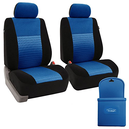 FH-FB060102 Trendy Elegance Car Seat Cover, s, Airbag & Split Ready w. FH3022 Silicone Steering Wheel Cover, Blue / Black Color - Fit Most Car, Truck, Suv, or Van